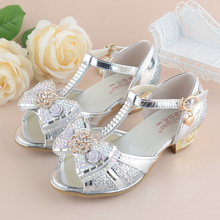 Children's Shoes Crystal Bow Shiny High Heels Princess Shoes Hot Sale New Girls Fish Mouth Sandals high heel shoes for children
