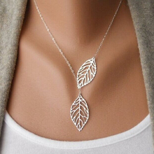 Leaf necklace big double two metal leaves pendant silver and gold color jewelry for women new fashion hot sale wholesale
