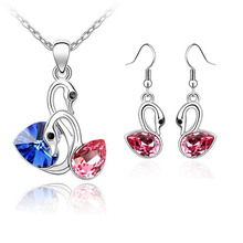 Classical Ambiguous Swans Jewelry Sets Silver Plated Crystal Wedding Necklace and Dangle Earring Gift conjunto joias