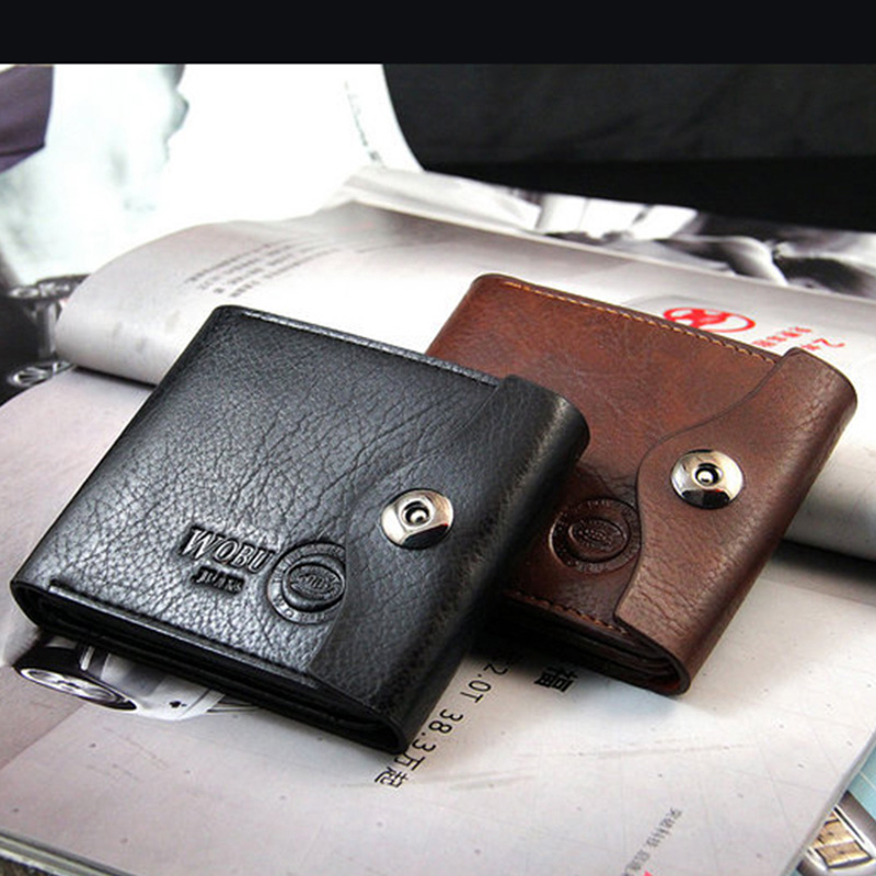 New Mens Fashion Casual Wallet Multifunctional PU Leather Wallets Short Mini Buckle Money Package Coin Purse Card Holder<br><br>Aliexpress