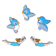 New 5 styles Fashion Anime cartoon bird Enamel Sports Girl Shape Shirt Collar Pin Enamel Shirt bag accessoriesBrooch Pins Gift
