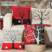 Linen Fabric Cushion Cover Pillowcase Pillow Case Tree Patterns Home Textile Decoration Sofa Living Room Christmas Gift 45x45CM(China)