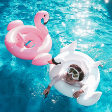 White Swan Inflatable Children'sSwimming Race Critters Swim Ring Baby Swimming Laps Pink Inflatable Flamingo Float In The Pool(China)