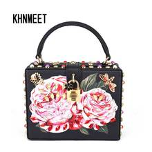 Newest Fashion Black Mini Tote Bags Pink Flower Crystal Party Purse butterfly cicada Women Strap Handbags Rivet Shoulder bags(China)