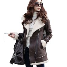2016 Women Winter Suede Clothing Women's Cotton Down Jacket for Women Thick Warm Sheep Lamb Wool Coat Turn Down Jacket A738
