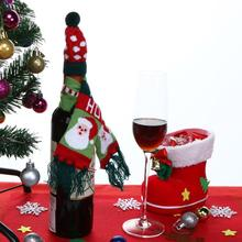 Christmas Tree /Old Man /Animal Home Wine Hold Scarf and Hat Bottle Cover Knitted Christmas Decor Xmas Ornament Decoration(China)