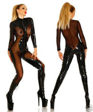 Buy Women Sexy PVC Latex Catsuit Erotic Leather Mesh See Throuth Jumpsuit lingerie dress Faux Leather Bodysuits Jumpsuit Clothing