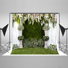 Wedding Photography Background White Purple Flowers Photo Booth Backdrops Green Grassland Background for Photographic Studio