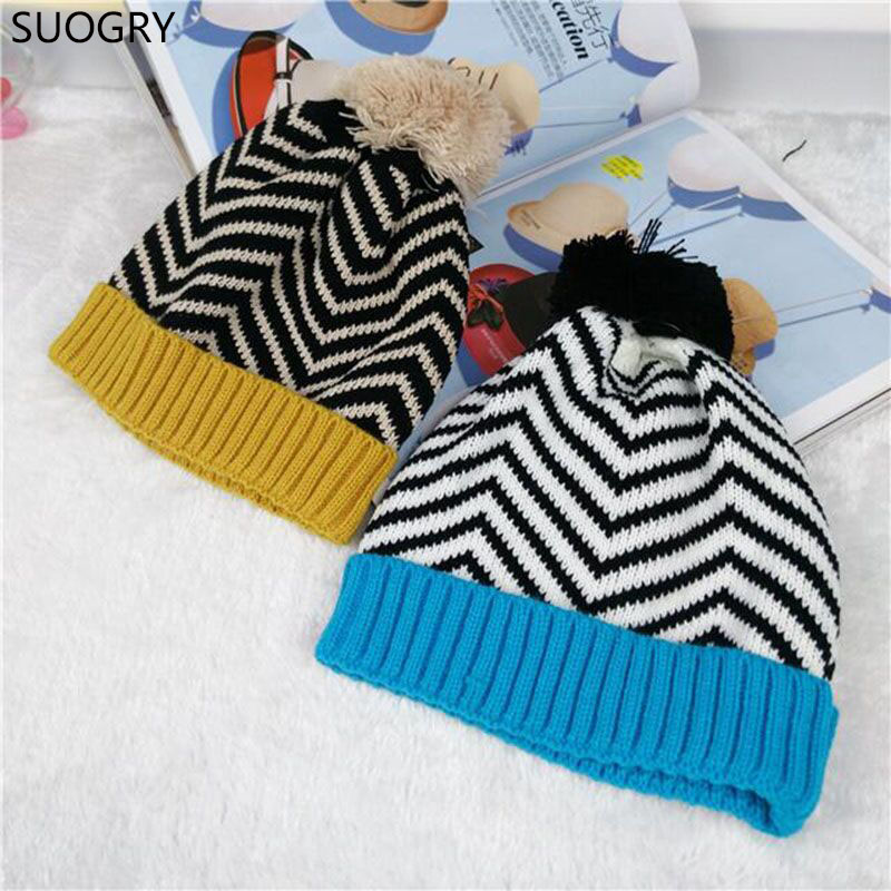 2016 Promotion Cotton Acrylic Unisex Casual Striped New Bonnet Beanie Winter Hat Zebra Ball Knitted Hats For Children BeaniesÎäåæäà è àêñåññóàðû<br><br><br>Aliexpress