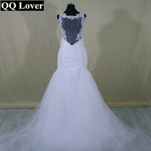 Buy QQ Lover 2017 New See Back Lace Mermaid Wedding Dress Detachable Train Custom-made Vestido De Noiva Bridal Gowns for $89.25 in AliExpress store