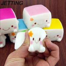 Soft scented Cake kawaii slow rising squishy Tofu smile face queeze kid toys Gift cell phone Straps pendant bread