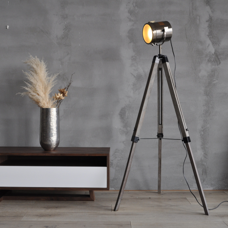 American Country Big Tripod Solid Wood Floor Retro Modern European Style Living  Room Became Searchlight Lamp Part 95