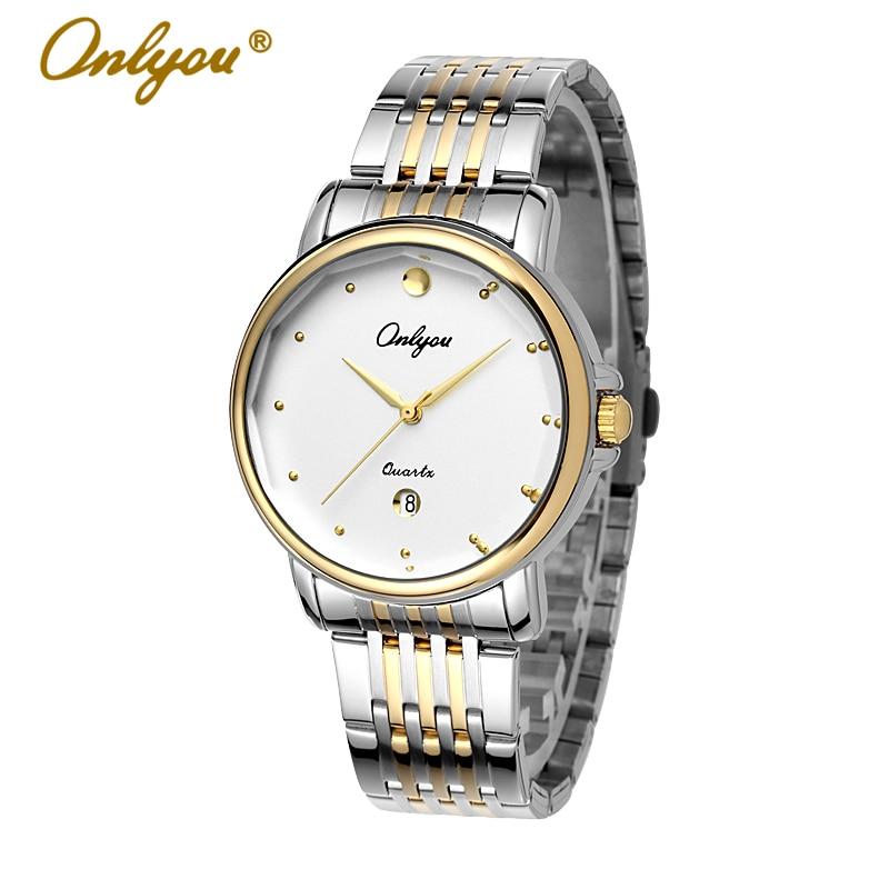 Onlyou Luxury Brand Watches Mens Womens Quartz Wrist Watch Steel  Ladies Dress Watch Silver Gold Female Male Watch Clock 8865<br>