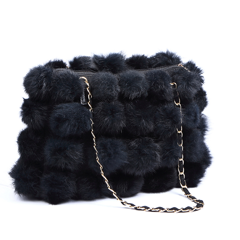 2017 winter new womens handbag rabbit fur ball womens handbag shoulder bag<br>