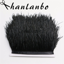 length 5 meter/lot 4-6inch Ostrich Feather Trimming black ostrich feather trim Ostrich Feather Fringe dress making craft(China)
