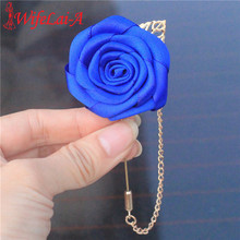 Wifelai-a Cheap Royal Blue Satin Flowers Corsage Groom Golden Leaf Chain Bridal Wedding Party Buttonhole Pin Brooches XH1000(China)