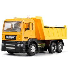 1:43 Scale Alloy Pull Back toy cars High simulation Dump truck model flashing musical diecasts toy free shpping(China)
