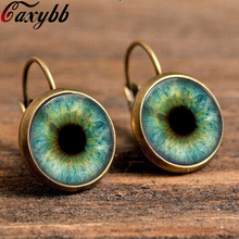 charm 18mm red glass dragon evil eye earring cat glass on earrings bronze black glass cabochon earring jewelry for women c-e20