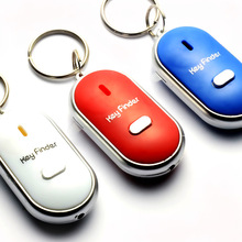 New Sound Whistle Control White LED Key Finder Locator Find Lost Keychain Keys Chain 4 colour(China)