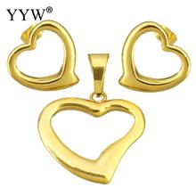 Fashion Stainless Steel Jewelry Sets For Women Lovely Heart Pendant Stud Earrings For Women Lover Wedding Sets Jewelry Gift