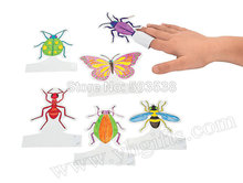 24PCS/LOT,Handpainted paper insect finger puppet,Early educational toys,Fantastic toy,Promotion cheap.6 design,8.5x7cm.Wholesale