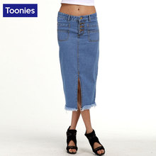 Denim Skirt Large Size Mid-calf Straight Summer 2017 New Long Pleated Skirt for Women Fashion Button Solid Saias Longas Casuais