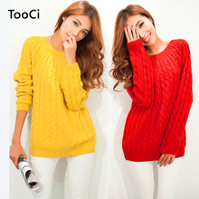 9 Colours Women Sweater Pullovers Fashion Casual Long Sleeve O-neck Twist Knitted Christmas Sweter Casacos Femininos(China)