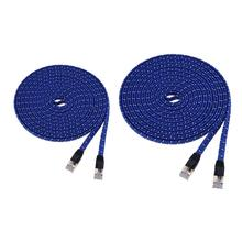 1m/3m CAT7 10 Gigabit High Speed Ethernet Cable Braided Flat Blue Network Cable for network switch/ hubs/ADSL/routers