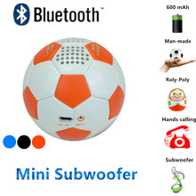 PU Leather Mini Portable Bluetooth Football Speaker Subwoofer Strong Bass 600mah Hands calling Music home theater audio player