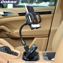 Universal charger mobile phone holder with 2 USB charger and 1 cigarette lighter smartphone charging holder for Iphone 4s 5 5s 6(China)