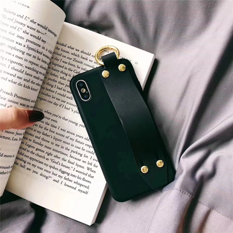 LUDI Vintage Wrist Strap Phone Case for iPhone 7 7Plus Case for iPhone X 6 6s 8 Plus Yellow Purple Black Plain Soft Silicon Capa5