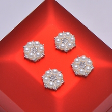 (L0295) wholesales 50pcs free shipping 12mm  metal rhinestone embellishment, ivory or pure white pearl,flat back