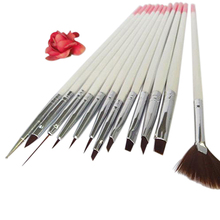 2016 New Product 12x Nail Art Polish Painting Draw Pens Brush Tips Tools Set UV Gel Nail Brushes 9R6O