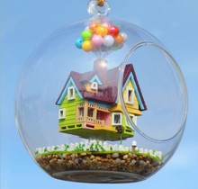 3pcs Flying doll house miniature dollhouse glass diy mini home ball hand housing With LED lights Wholesale(China)