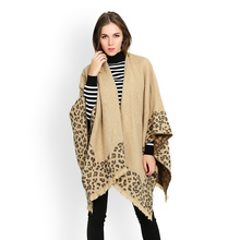 New fashion female leopard poncho scarves women cashmere blanket cloaks scarf lady winter thick warm cape shawl wraps hot sale