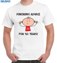 Wholesale T Shirts Short Sleeve Gift O-Neck Mens Ignoring Advice For 50 Years 50Th Birthday Shirts(China)