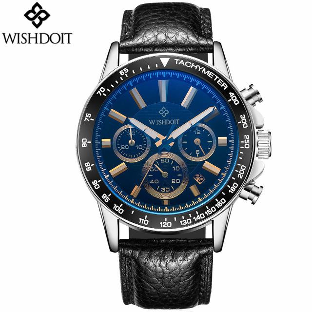 Luxury Brand WISHDOIT quartz Mens Watches Men Genuine Leather watches racing Male Students game Run Chronograph Watch relogio<br>