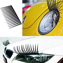 New 2pcs 3D Charming Black False Eyelashes Fake Eye Lash Sticker Car Headlight Decoration Funny Decal For Beetle Drop Shipping
