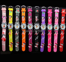 DHL Free Shipping Hot Promotion High Quality 3D Cartoon Betty Boop Girl's Kids Silicone Quartz Wristwatches Student Watches(China)