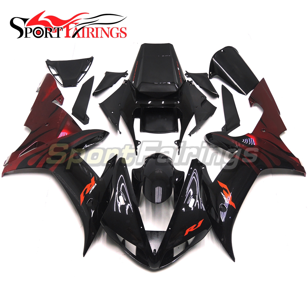 Full Fairings Fit Yamaha R1 02 03 YZF-R1 Year 2002 2003 ABS Injection OEM Motorcycle Fairing Kit ABS Bodywork Black Red Flame(China)