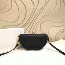 2017 top quality luxury flap half crescent moon shoulder bags calfskin genuine leather handbags min black grey cross body bags