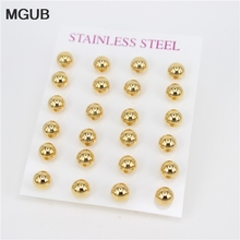MGUB Exquisite round bead studs 12 pairs of cards installed 6mm 8mm selection male and female earrings do not fade LH238