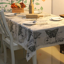 NEW arrival style Zakka wholesale Butterfly cotton linen Kitchen table cloth/home decoration/140cm*220cm/Factory Outlet