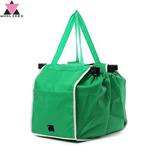 Reusable Trolley Folding Shopping Bag Portable Green Bag Folding Bag Nonwoven Material Large Capacity Waterproof Storage Bag