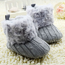 2017 Toddler Girl Boy Warm Prewalker Boots  Crochet Knit Fleece Boot Wool Snow Crib Shoes Winter Booties 0-18M