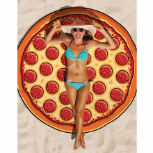 150cm Fashion Pizza Printed Beach Towel Round Yoga Mat Bath Towel Novelty Pattern Beach Bath Towel For Adults Children YL971426