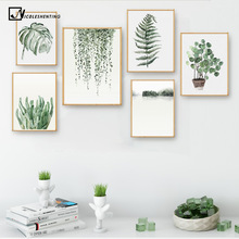 Watercolor Plant Leaves Poster Print Landscape Wall Art Canvas Painting Picture for Living Room Home Decor Cactus Decoration(China)