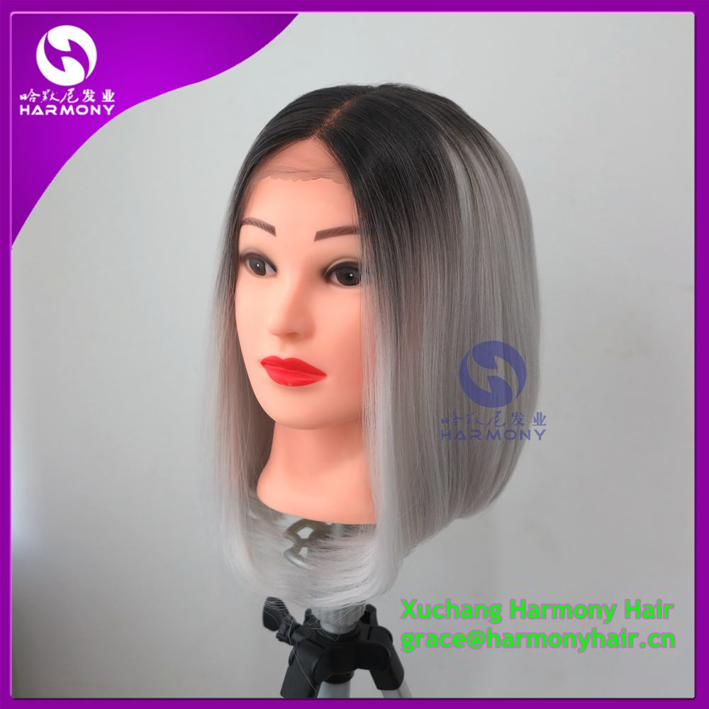 FREE SHIPPING1piece 12 grandma ash ombre grey color synthetic lace front wig Japanese synthetic fiber short lace front wig<br><br>Aliexpress
