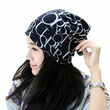 New Fashion Classic Hip-Hop English Brief Multifunctional Hat Wide Scarf Unisex Beanie Cap (Black)