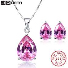 JQUEEN Natural Pink Topaz Necklace and Earrings 925 Sterling Silver Jewelry Sets Wedding Engagement Jewelry Bride Accessories